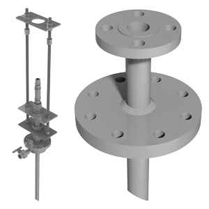 Retractable and fixed injection and sampling quills, available with CRN Flanged static mixers, available with CRN Dilution tee for aggressive chemicals